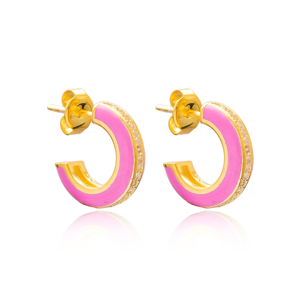 Ø14 mm Minimal Pink Enamel Stud Earrings Turkish Handmade Wholesale 925 Sterling Silver Jewelry