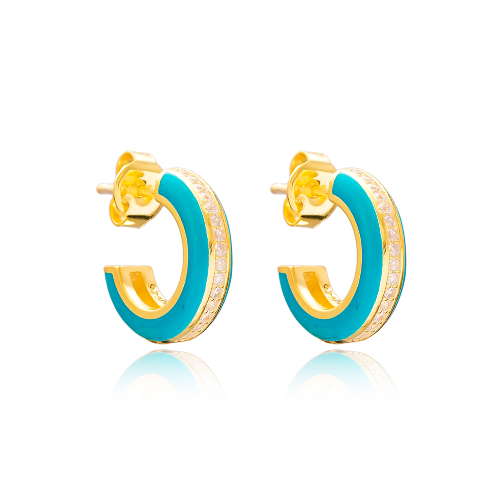 Ø14 mm Minimal Turquoise Enamel Stud Earrings Turkish Handmade Wholesale 925 Sterling Silver Jewelry
