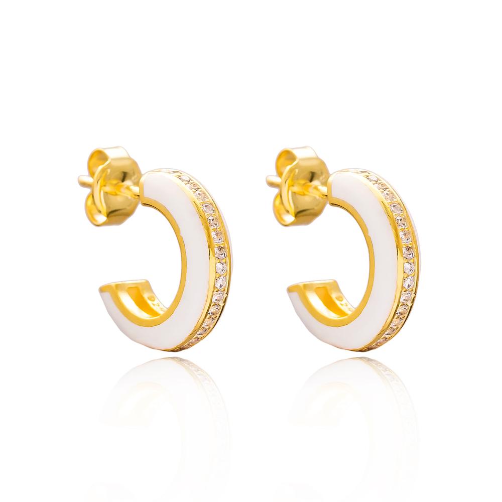 Ø14 mm Minimal White Enamel Stud Earrings Turkish Handmade Wholesale 925 Sterling Silver Jewelry