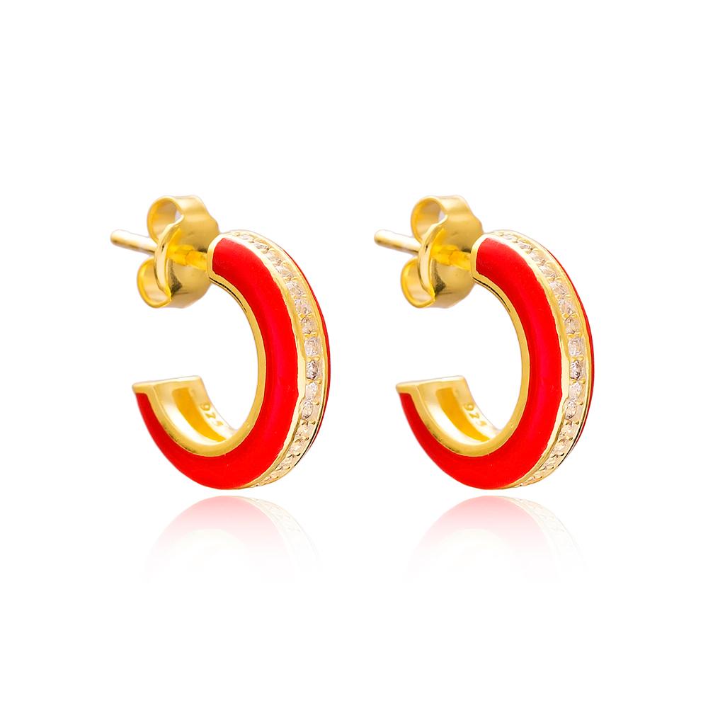 Ø14 mm Minimal Red Enamel Stud Earrings Turkish Handmade Wholesale 925 Sterling Silver Jewelry
