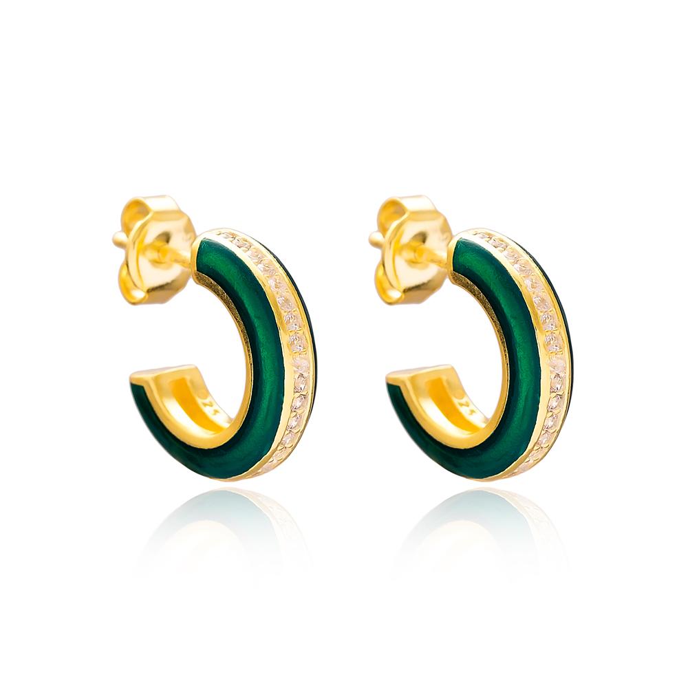 Ø14 mm Minimal Dark Green Enamel Stud Earrings Turkish Handmade Wholesale 925 Sterling Silver Jewelry