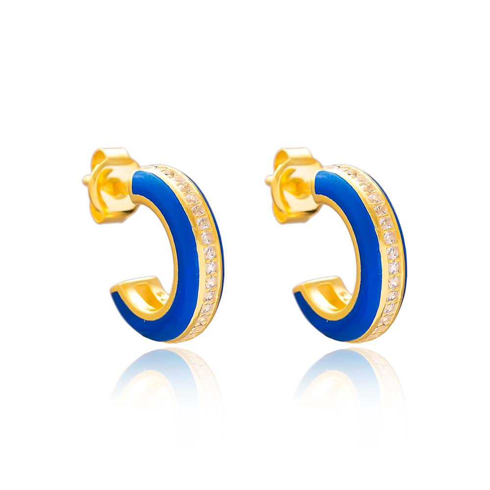 Ø14 mm Minimal Navy Blue Enamel Stud Earrings Turkish Handmade Wholesale 925 Sterling Silver Jewelry