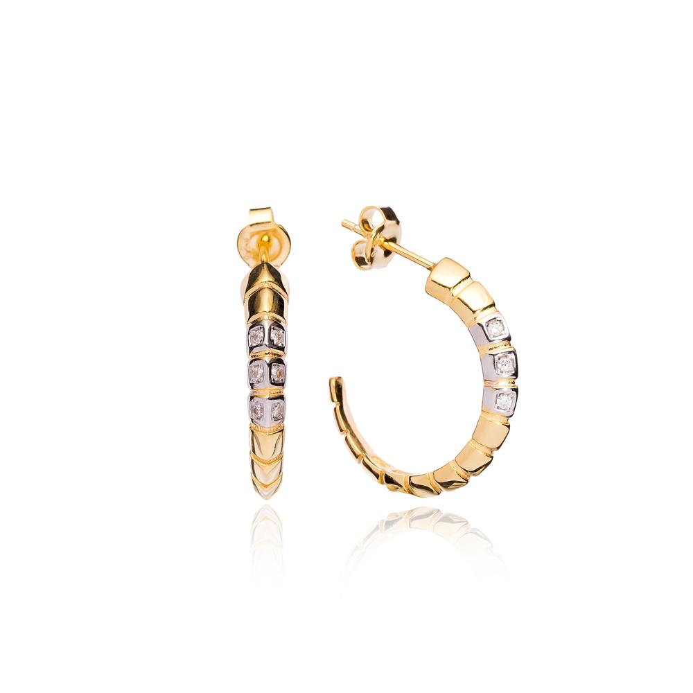 Elegant Design Hoop Earrings Turkish Handmade Wholesale 925 Sterling Silver Jewelry