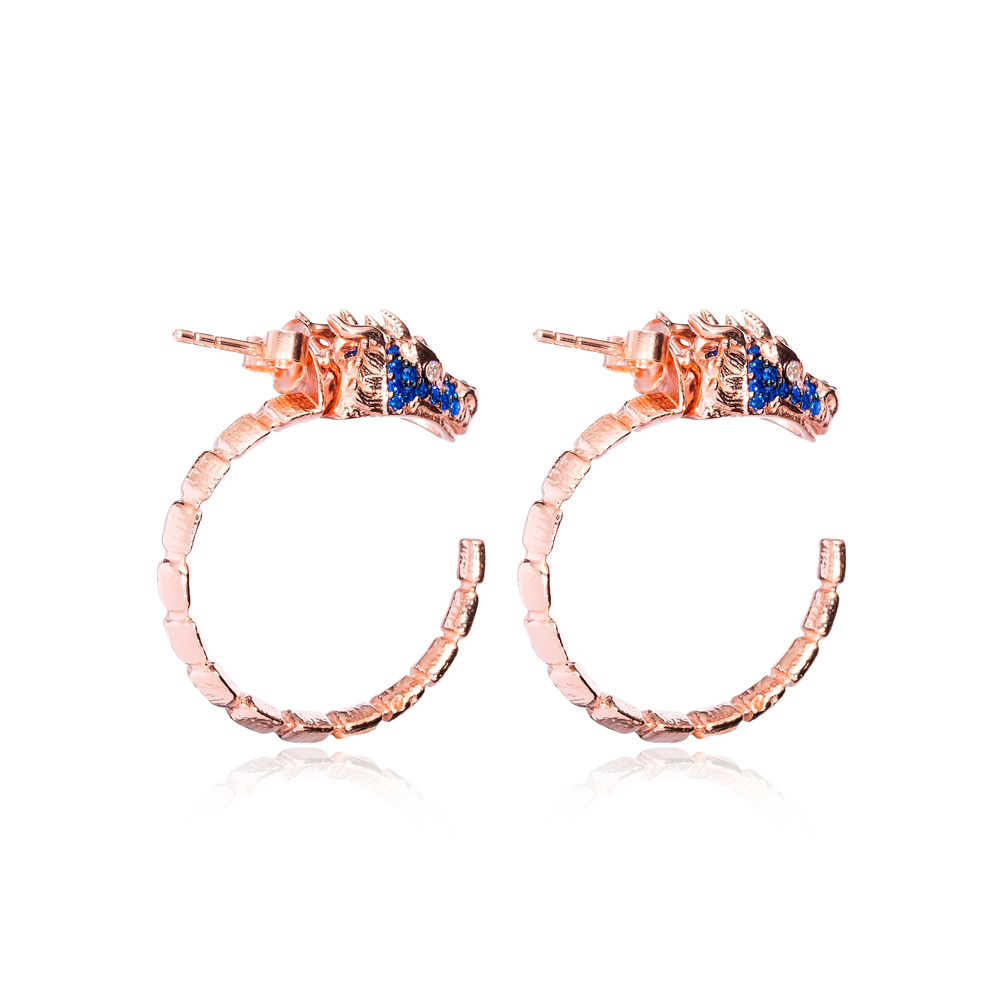 Dragon Design Sapphire Stone Hoop Earrings Turkish Handmade Wholesale 925 Sterling Silver Jewelry