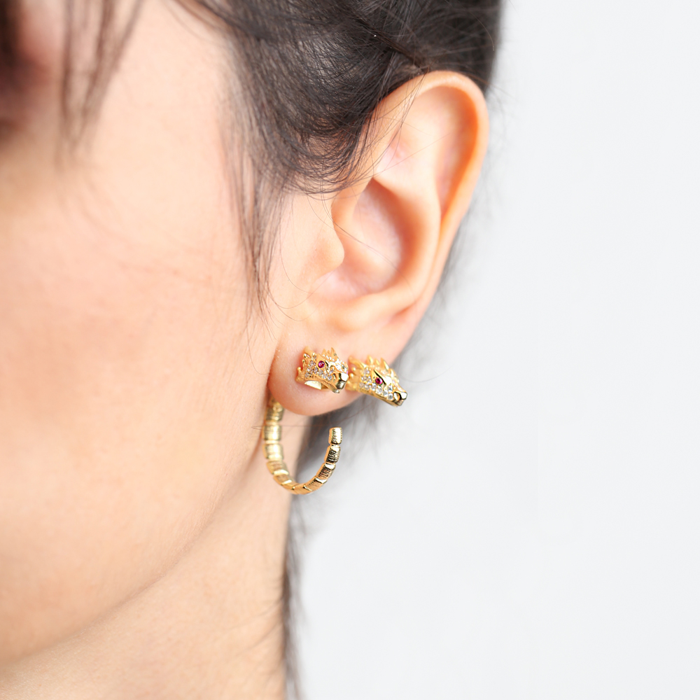 Dragon Design Ruby Eye Hoop Earrings Wholesale 925 Sterling Silver Jewelry