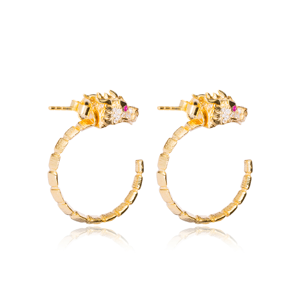 Dragon Design Ruby Stone Eye Hoop Earrings Turkish Handmade Wholesale 925 Sterling Silver Jewelry