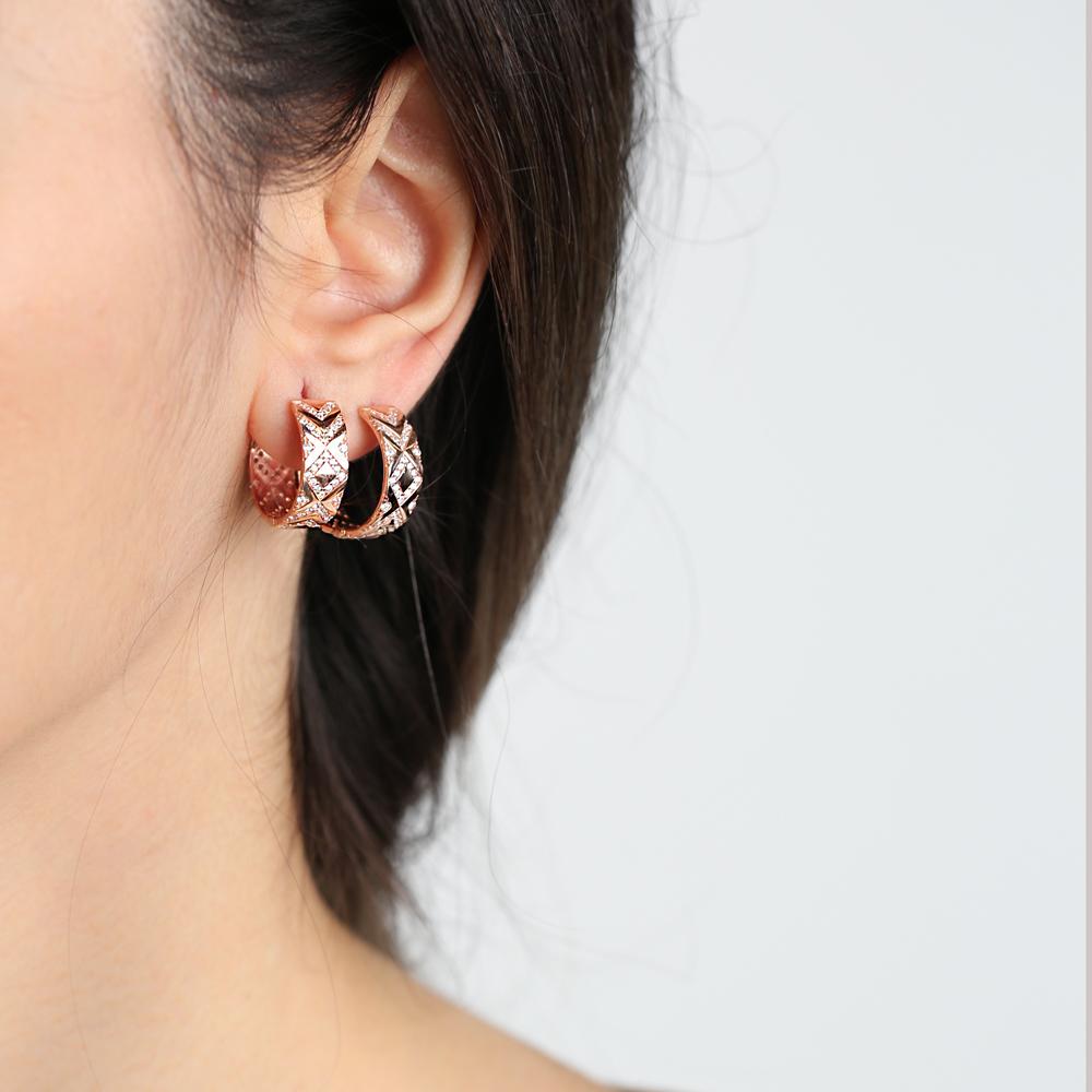 Ø19 mm Sized Elegant Design Hoop Earrings Wholesale Turkish Handmade 925 Sterling Silver