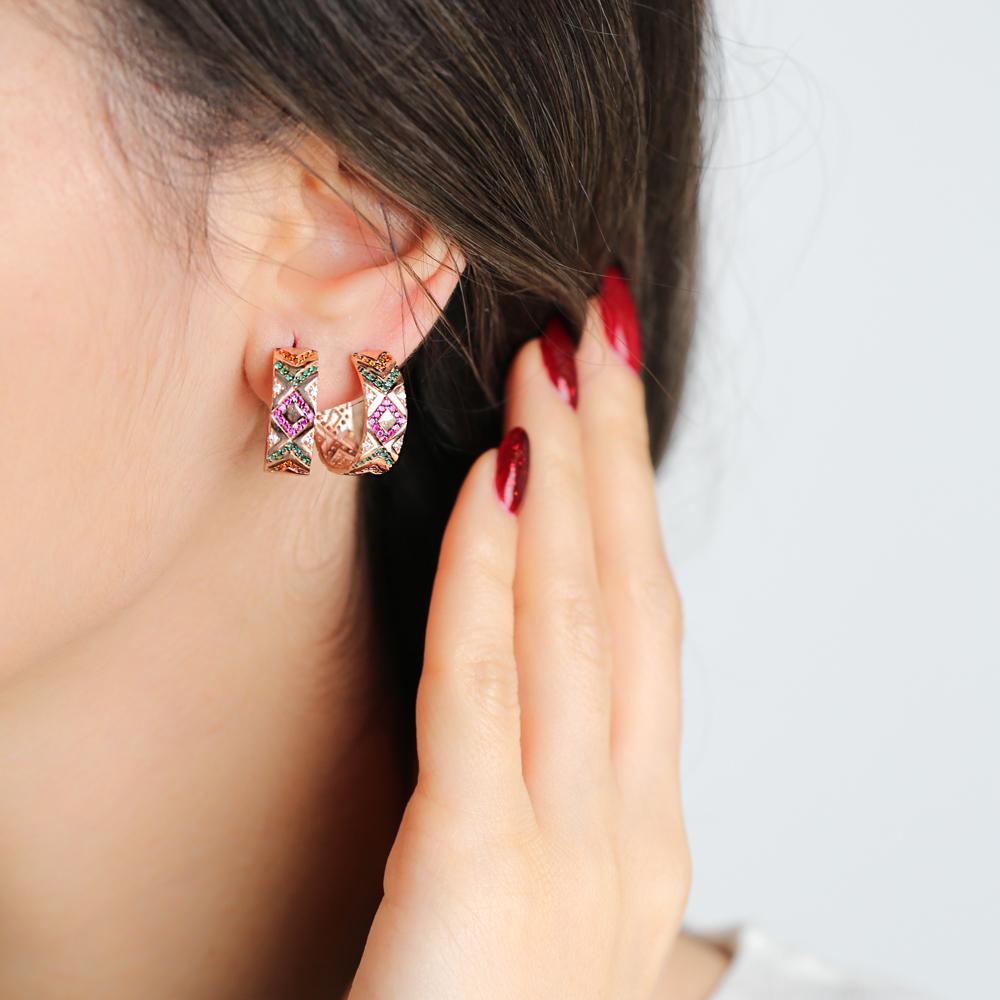 Rainbow Stone Ø19 mm Sized Fashion Design Hoop Earrings Wholesale Turkish Handmade 925 Sterling Silver