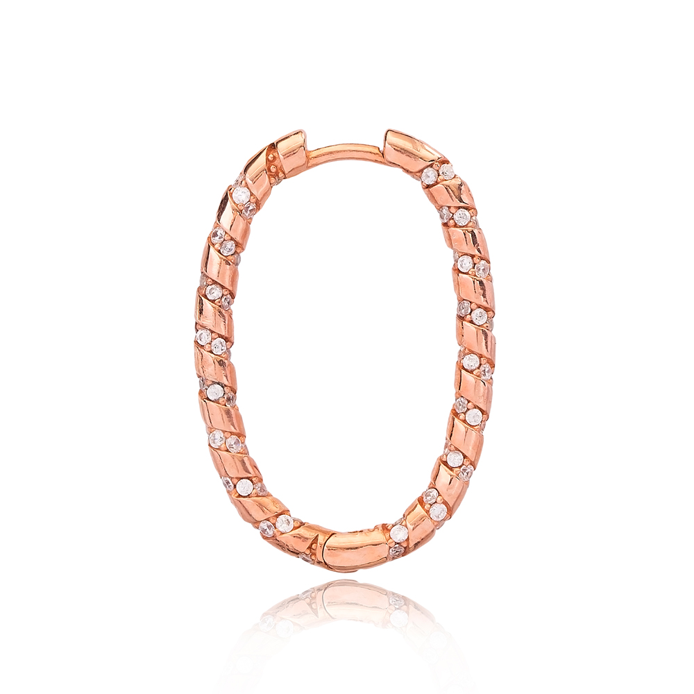 Ovoid Shape Ø19 mm Sized Fashion Design Hoop Earrings Wholesale Turkish Handmade 925 Sterling Silver