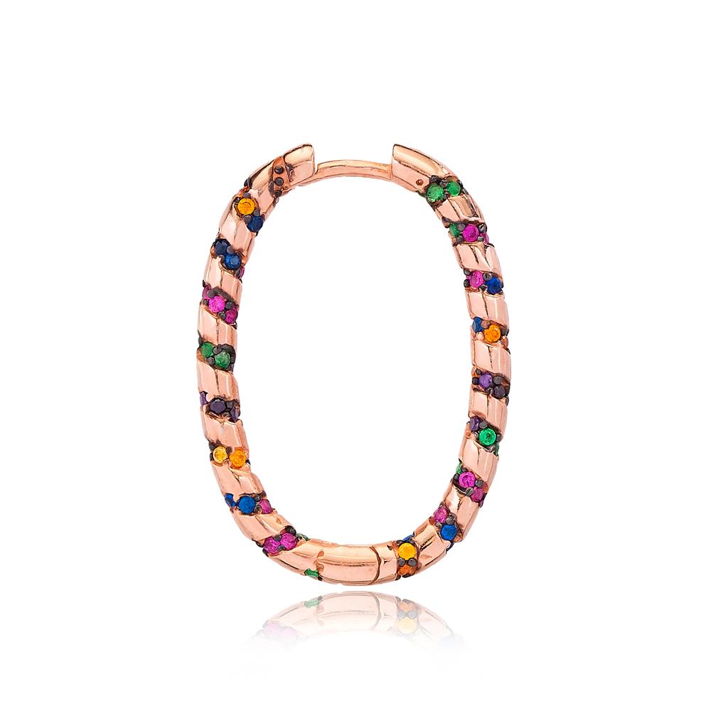 Colorful Stone Ovoid Shape Ø19 mm Sized Fashion Design Hoop Earrings Wholesale Turkish Handmade 925 Sterling Silver