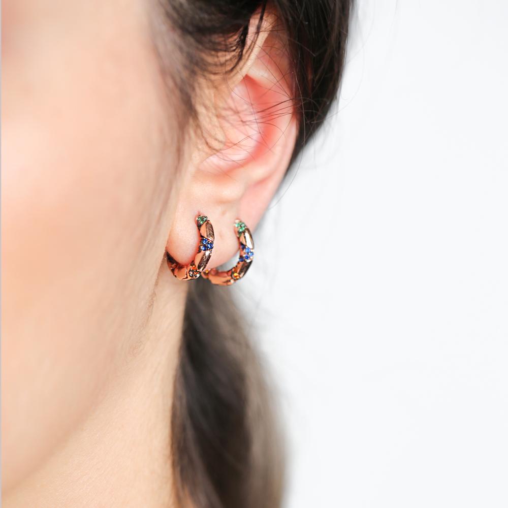 Multi Stone Fashionable Design Hoop Earrings Wholesale Turkish Handmade 925 Sterling Silver
