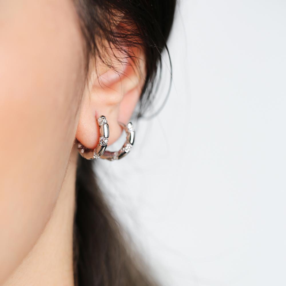 Ø14 mm Sized Zircon Stone Trendy Design Hoop Earrings Wholesale Turkish Handmade 925 Sterling Silver