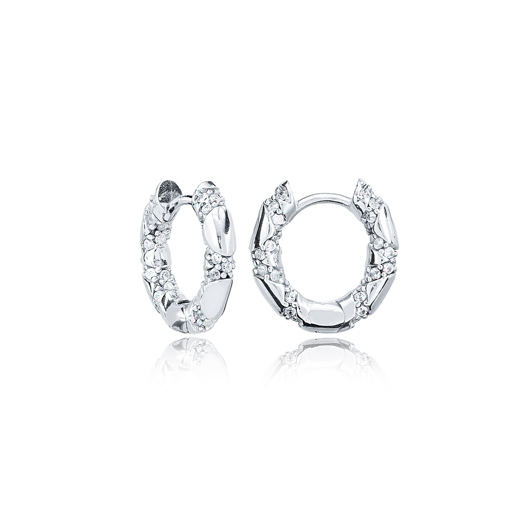 Ø14 mm Sized Zircon Stone Trendy Design Hoop Earrings Wholesale Turkish Handmade 925 Sterling Silver