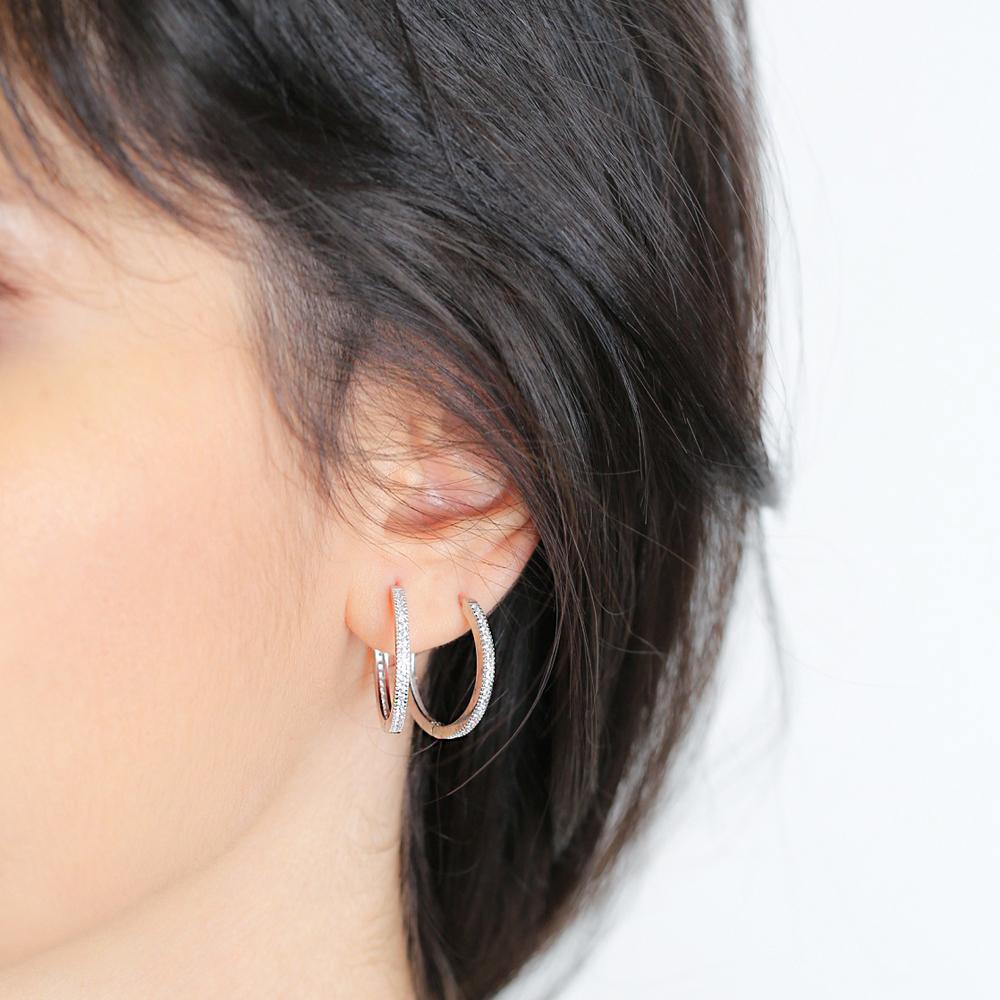 Elegant Silver Hoop Earrings CZ Stone Wholesale 925 Sterling Silver Jewelry