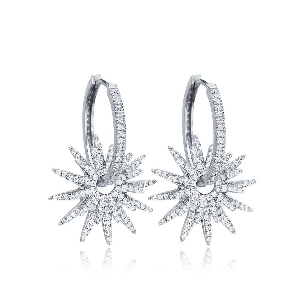 Shiny Star Silver Hoop Earrings CZ Stone Wholesale 925 Sterling Silver Jewelry