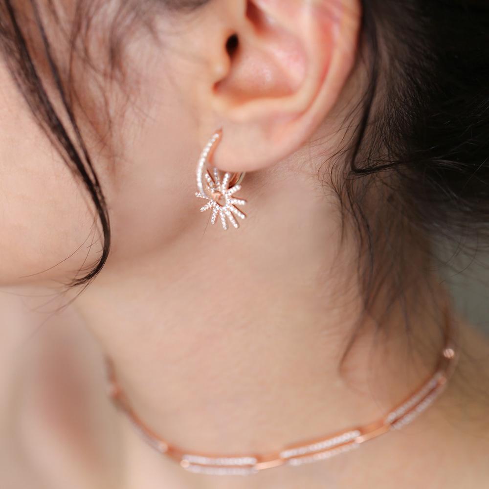 Star Hoop Earrings CZ Stone Wholesale Turkish 925 Sterling Silver Jewelry