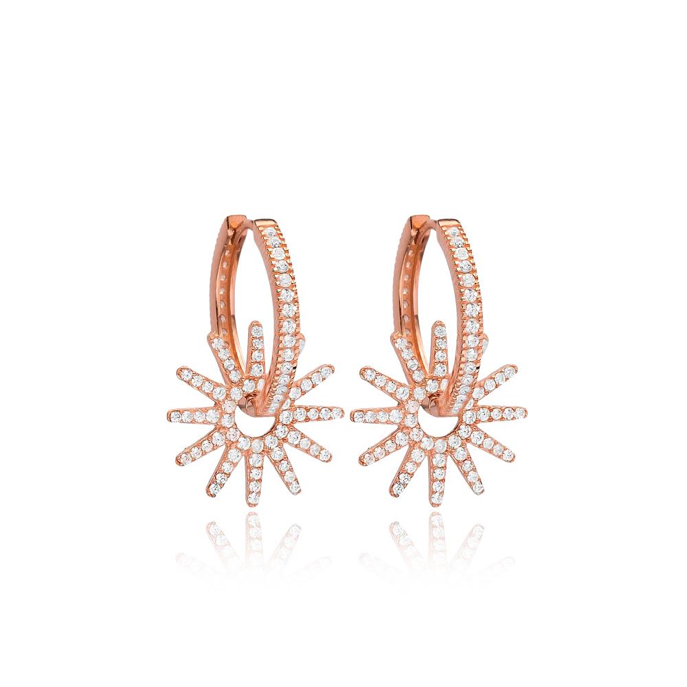 Shiny Star Hoop Earrings CZ Stone Wholesale Turkish 925 Sterling Silver Jewelry