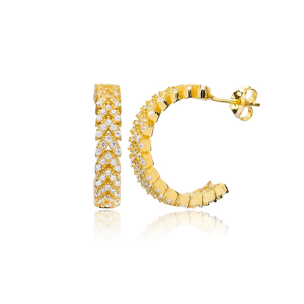 Elegant Popular Hoop Zircon Earrings Wholesale Turkish Handmade 925 Sterling Silver Jewelry