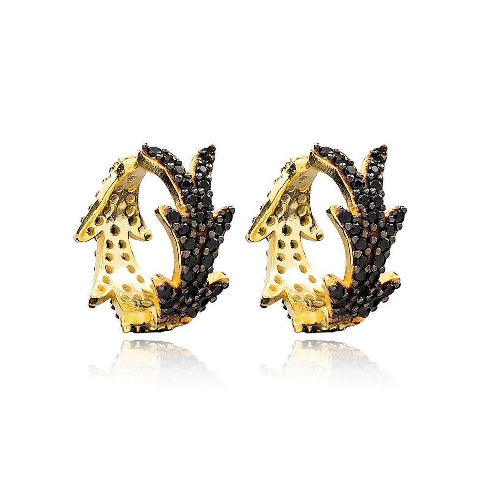 Black Zircon Hoop Earrings Wholesale Handmade  Turkish 925 Sterling Silver Jewelry