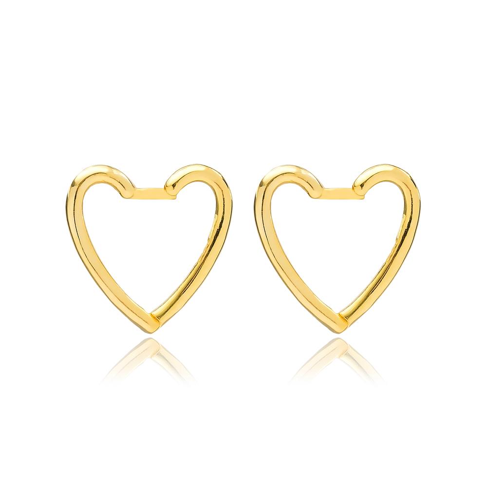 Dainty Plain Heart Silver Earrings Wholesale Turkish Handmade 925 Sterling Silver Jewelry