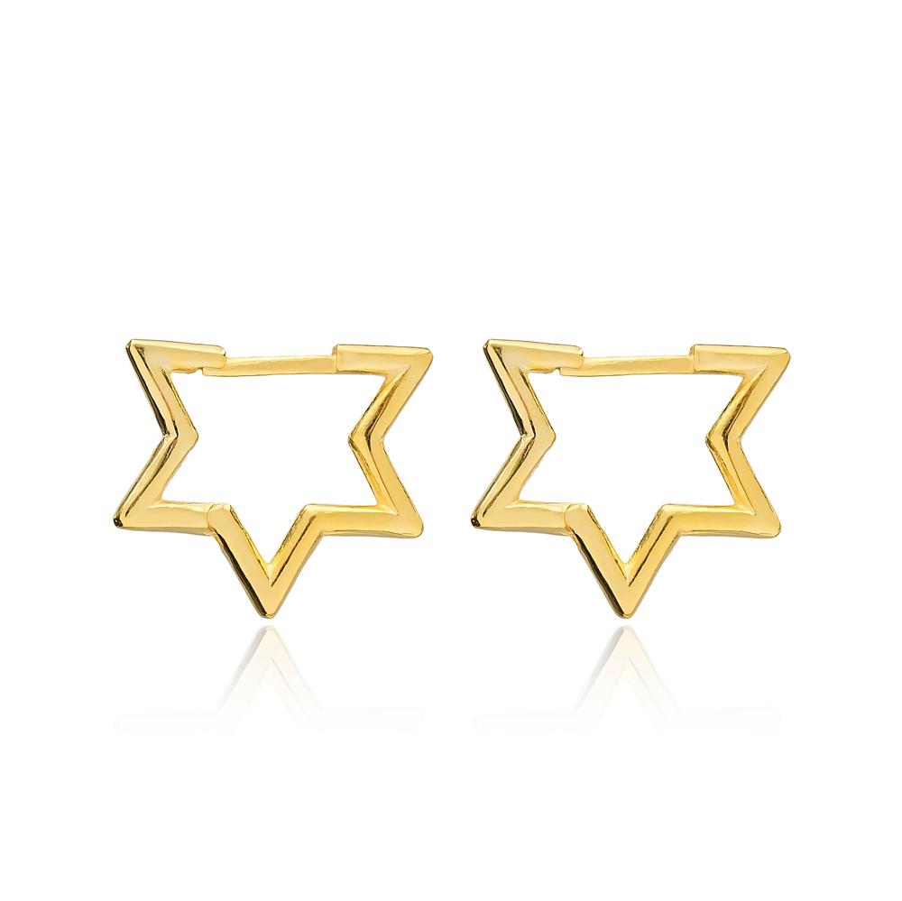 Dainty Plain Star Silver Earrings Wholesale Turkish Handmade 925 Sterling Silver Jewelry