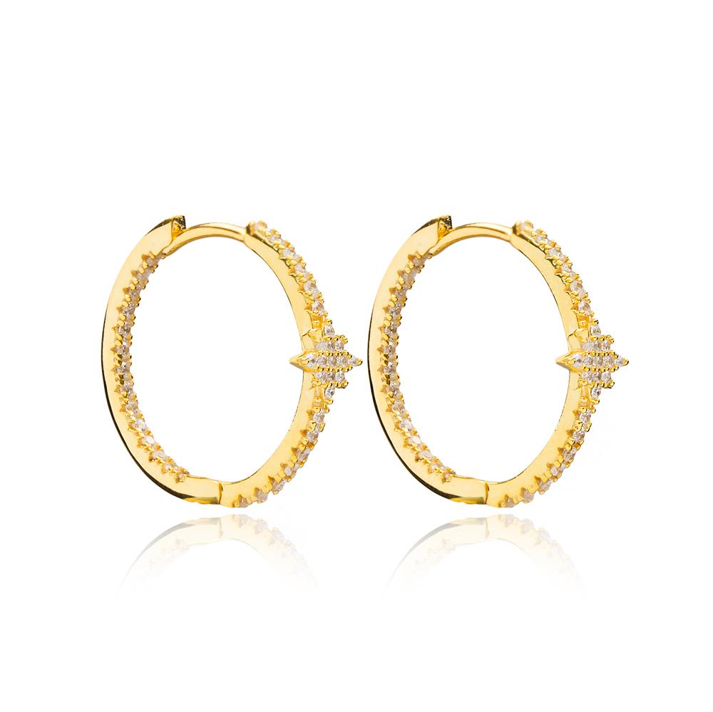 Zircon Minimalist Star Earrings Wholesale Turkish Handmade 925 Sterling Silver Jewelry