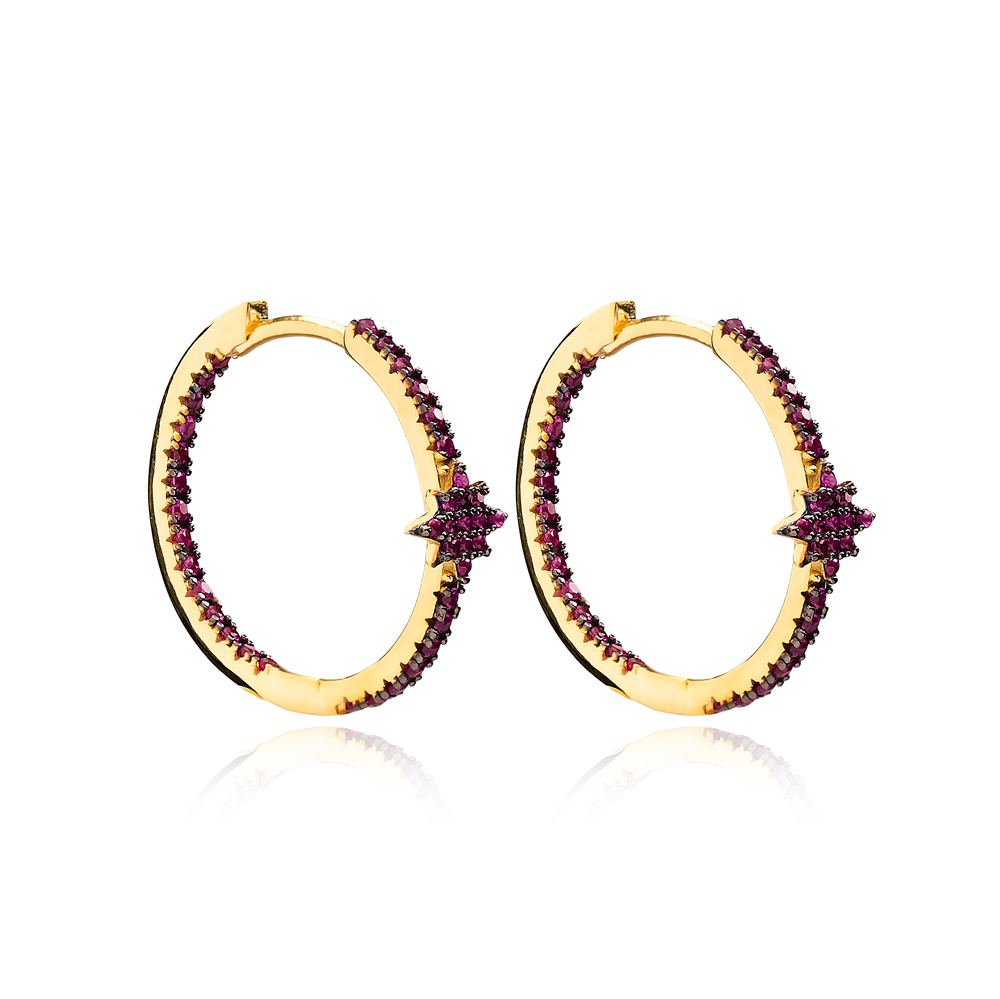 Ruby Minimalist Star Earrings Wholesale Turkish Handmade 925 Sterling Silver Jewelry