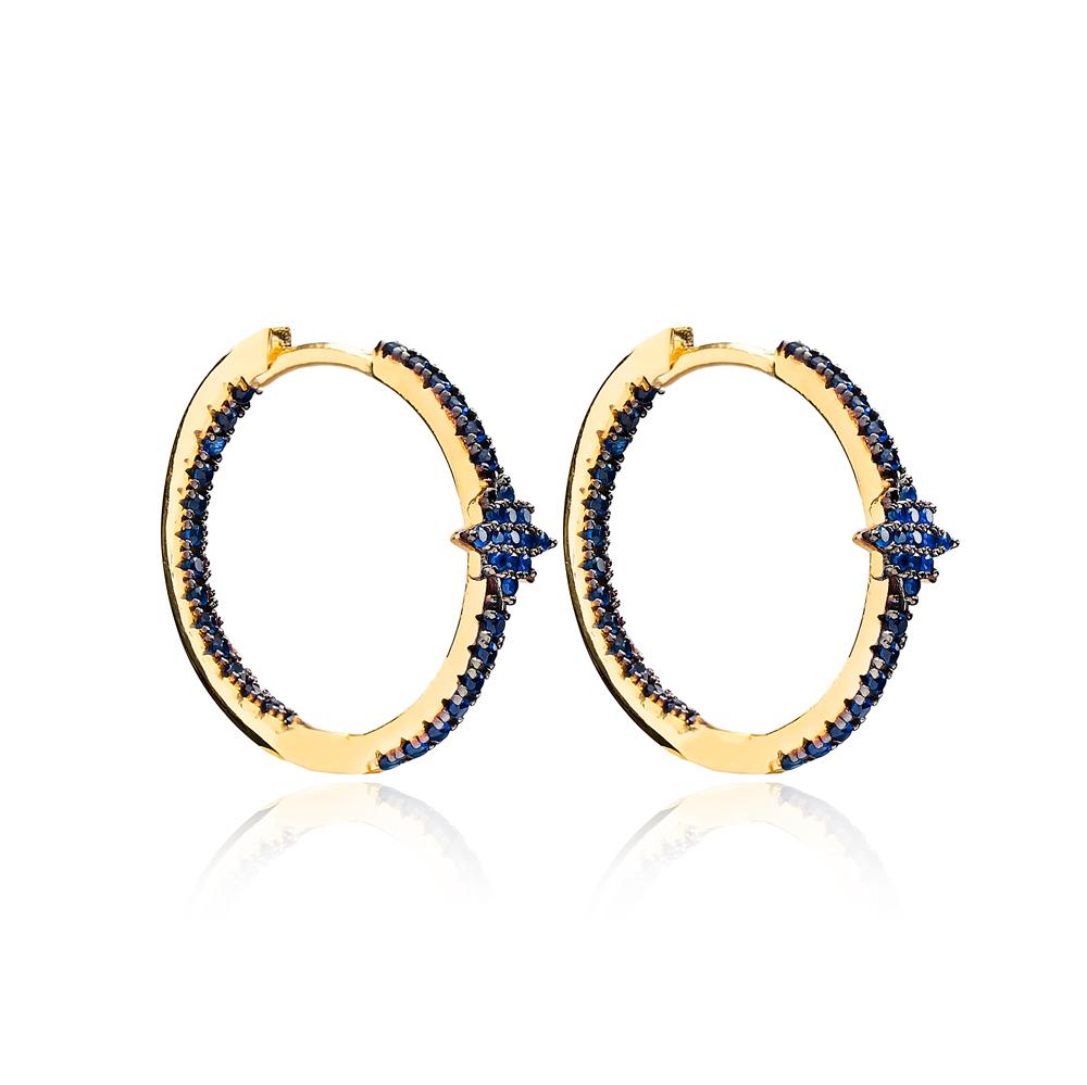 Sapphire Minimalist Star Earrings Wholesale Turkish Handmade 925 Sterling Silver Jewelry