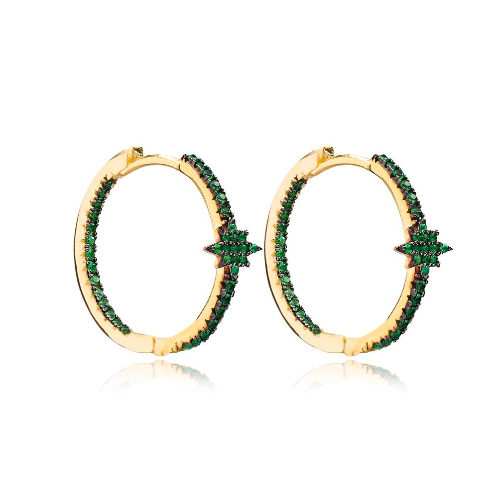 Emerald Minimalist Star Earrings Wholesale Turkish Handmade 925 Sterling Silver Jewelry