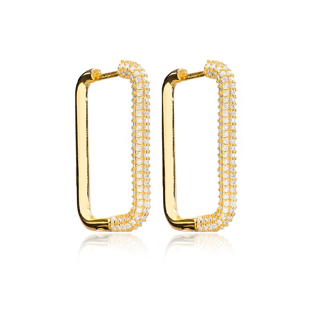 Silver Elegant Zircon Trendy Earrings Wholesale Turkish Handmade 925 Sterling Silver Jewelry