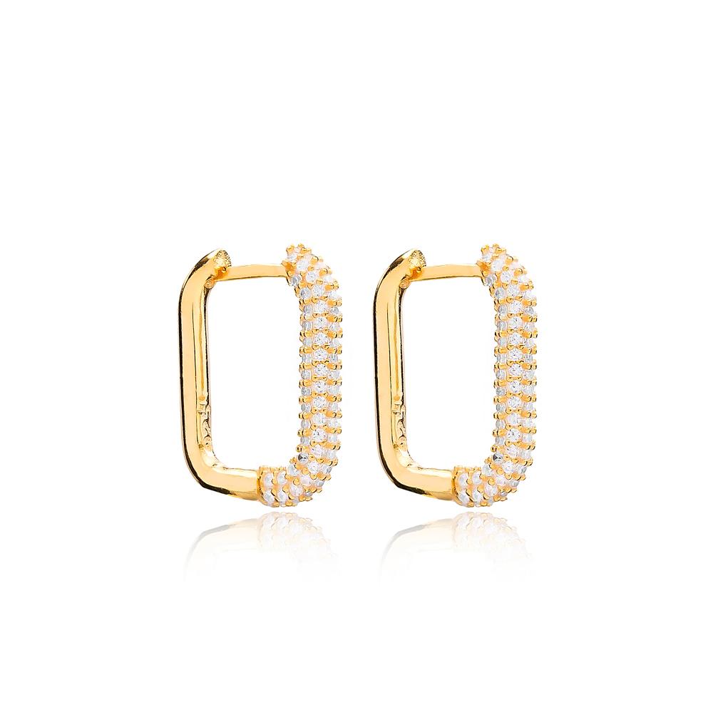 Trendy Elegant Zircon Earrings Wholesale Turkish Handmade 925 Sterling Silver Jewelry