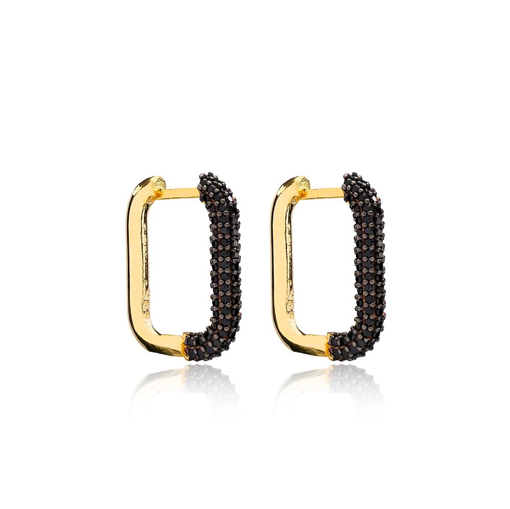 Trendy Elegant Black Zircon Earrings Wholesale Turkish Handmade 925 Sterling Silver Jewelry