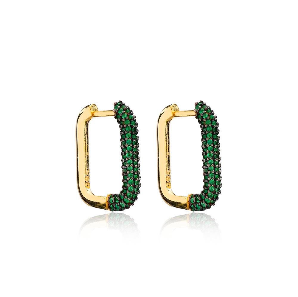 Trendy Elegant Emerald Earrings Wholesale Turkish Handmade 925 Sterling Silver Jewelry