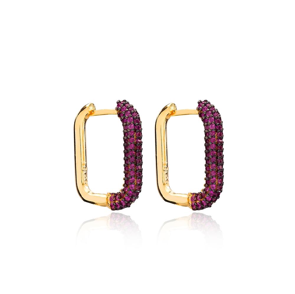 Ruby Trendy Earrings Wholesale Turkish Handmade 925 Sterling Silver Jewelry