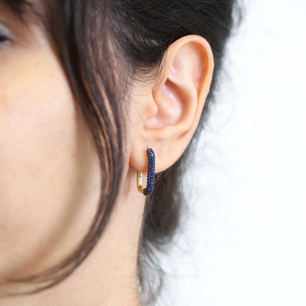 Sapphire Earrings Wholesale Turkish Handmade 925 Sterling Silver Jewelry