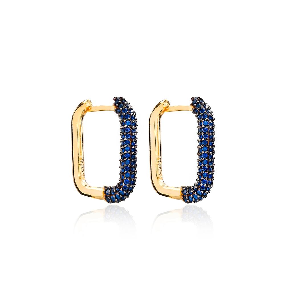 Sapphire Trendy Earrings Wholesale Turkish Handmade 925 Sterling Silver Jewelry