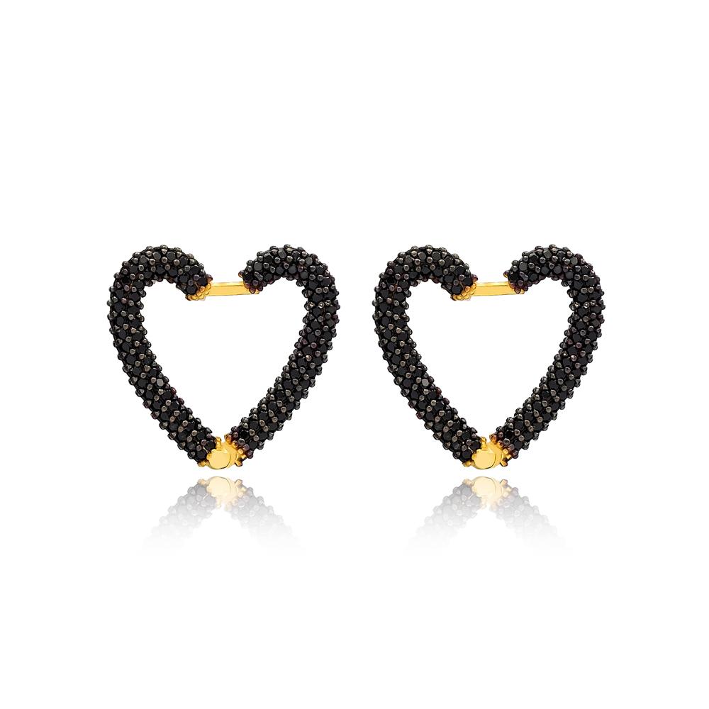 Black Zircon New Trend Heart Earrings Wholesale Turkish Handmade 925 Sterling Silver Jewelry