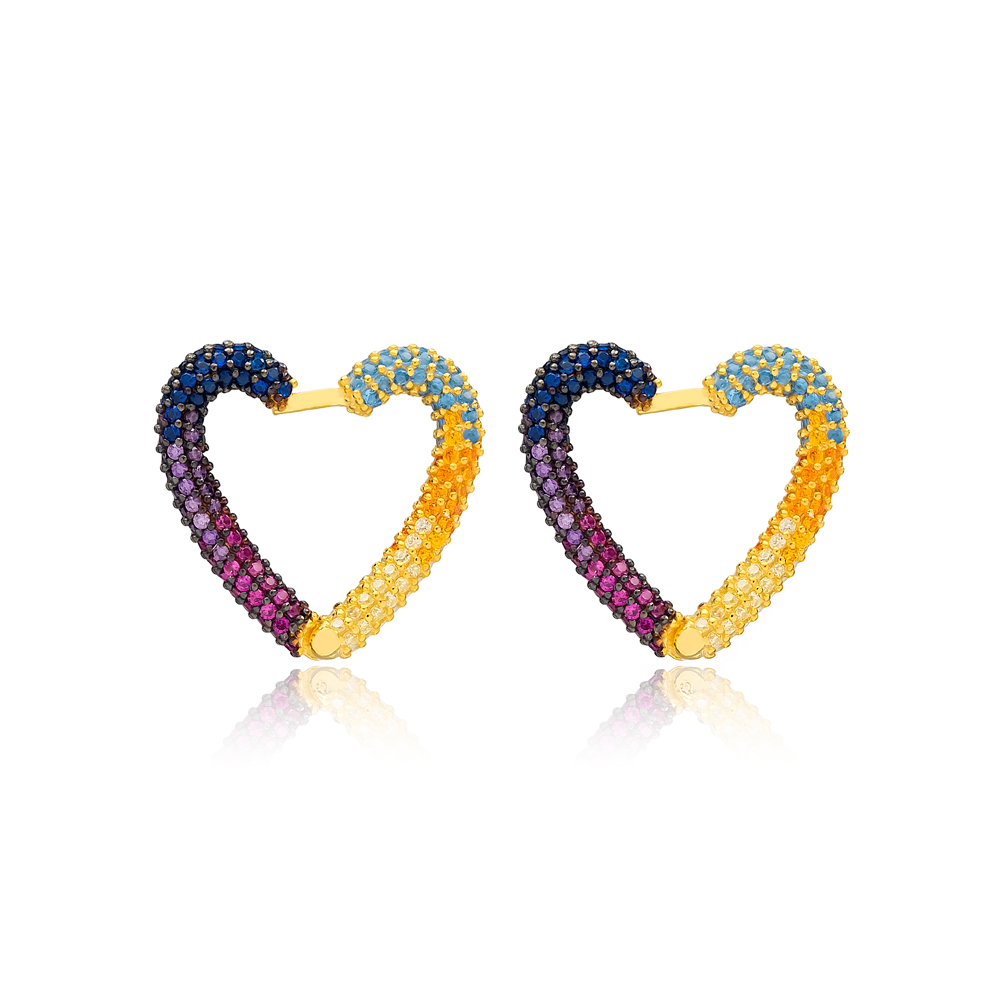 Rainbow New Trend Heart Earrings Wholesale Turkish Handmade 925 Sterling Silver Jewelry