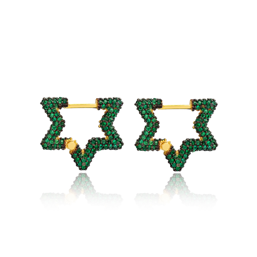 Emerald New Trend Star Shape Earrings Wholesale Turkish Handmade 925 Sterling Silver Jewelry
