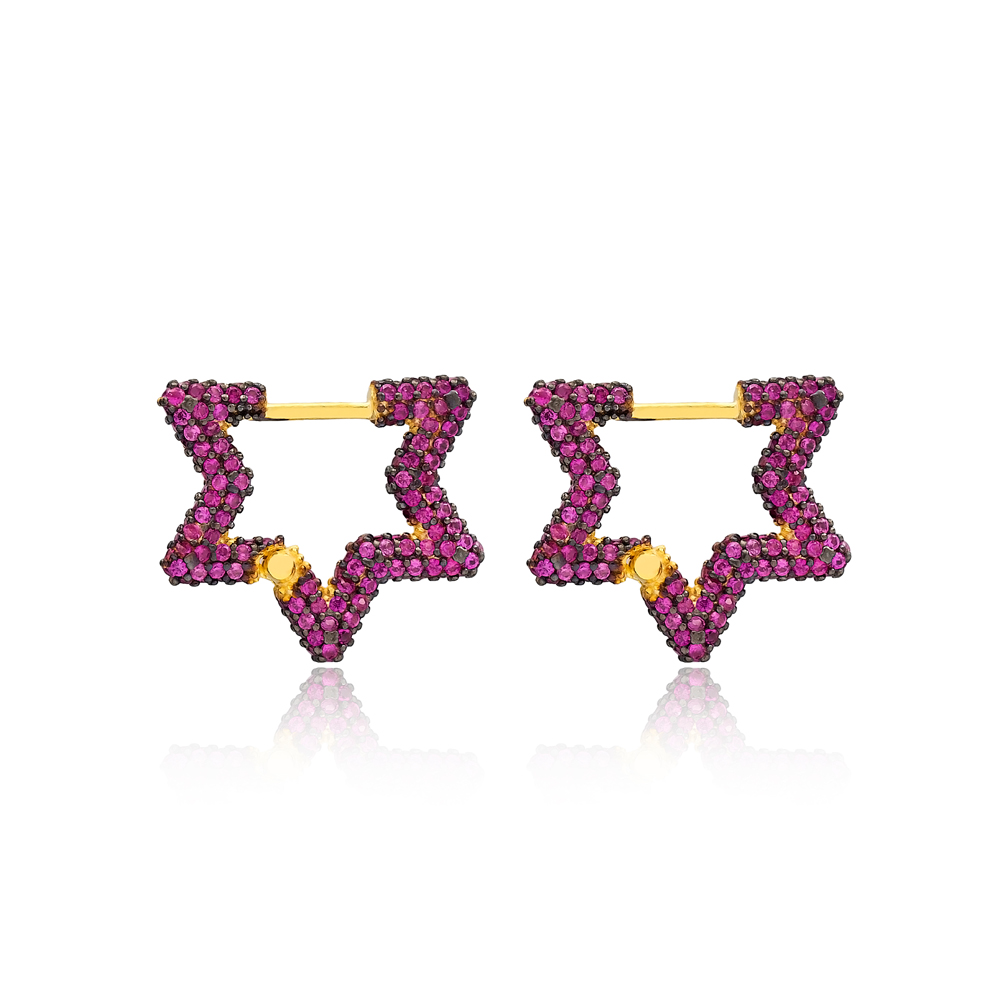 Ruby New Trend Star Shape Earrings Wholesale Turkish Handmade 925 Sterling Silver Jewelry