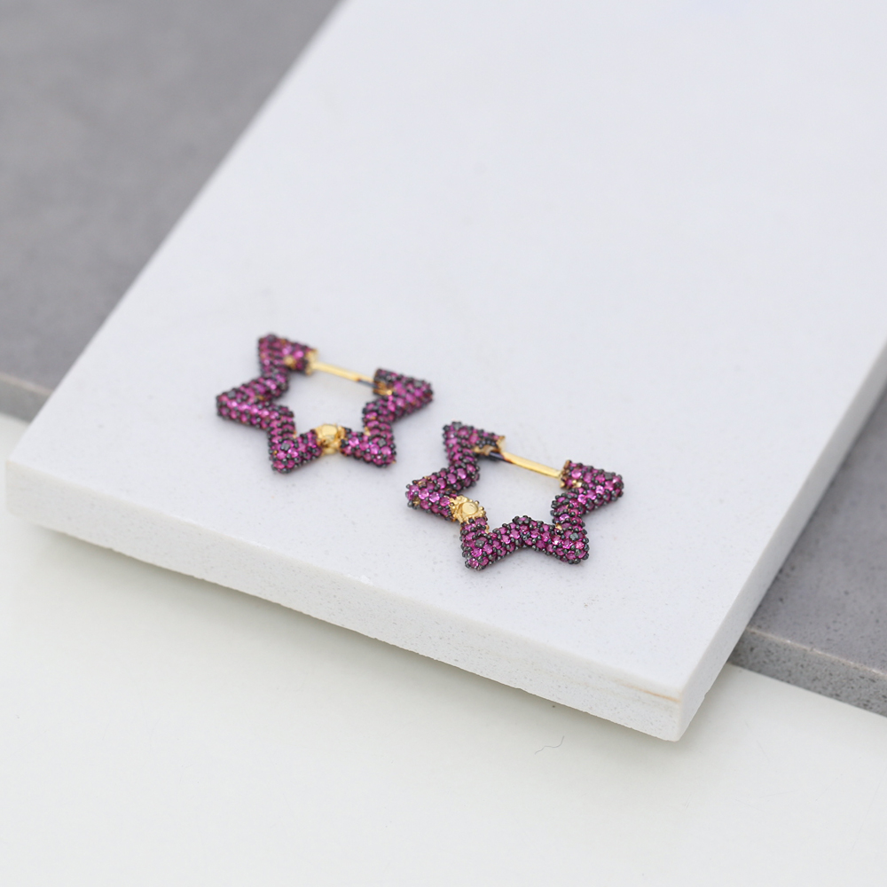 Ruby New Trend Star Shape Earrings Wholesale Turkish Handmade 925 Sterling Silver Jewelry