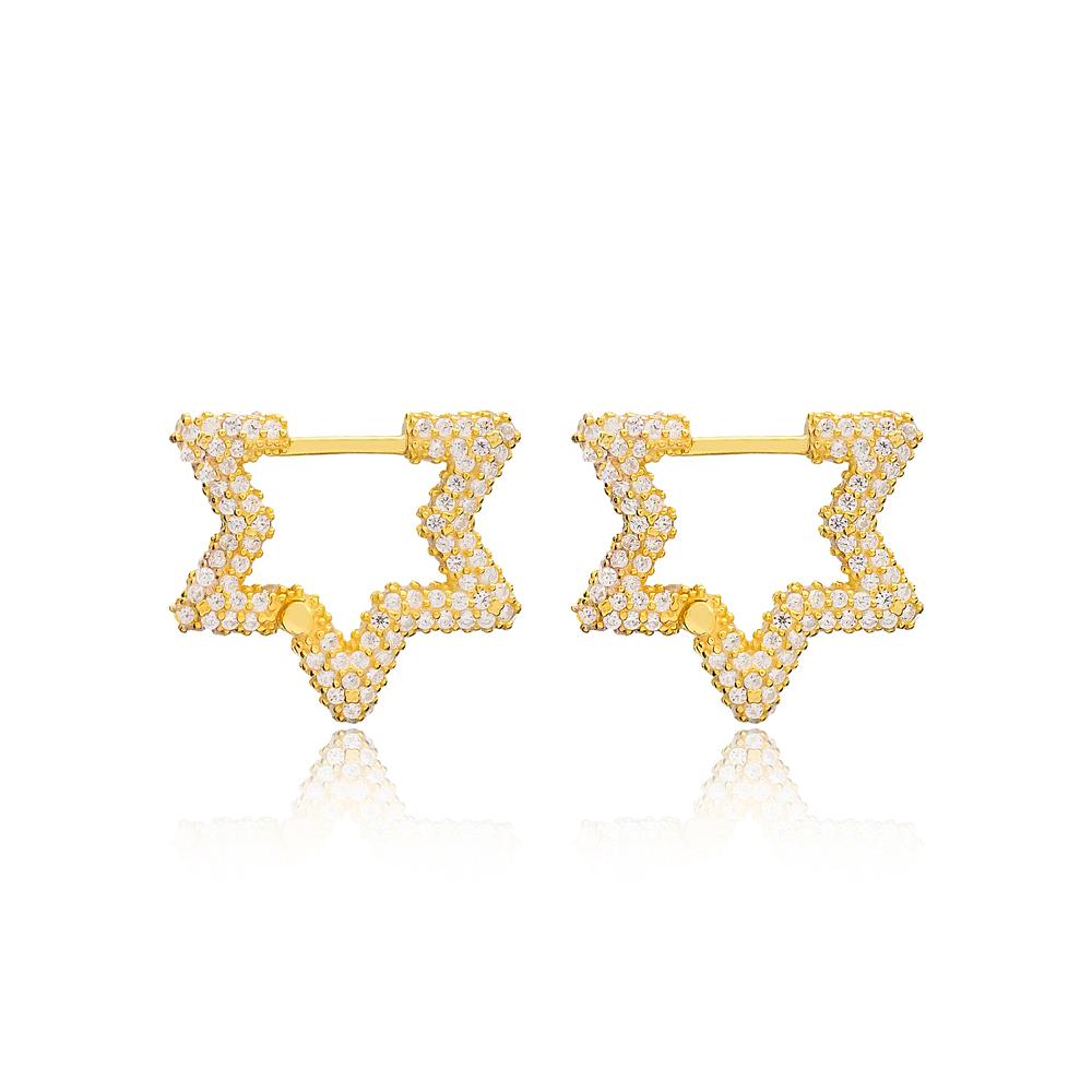 Zircon New Trend Star Shape Earrings Wholesale Turkish Handmade 925 Sterling Silver Jewelry