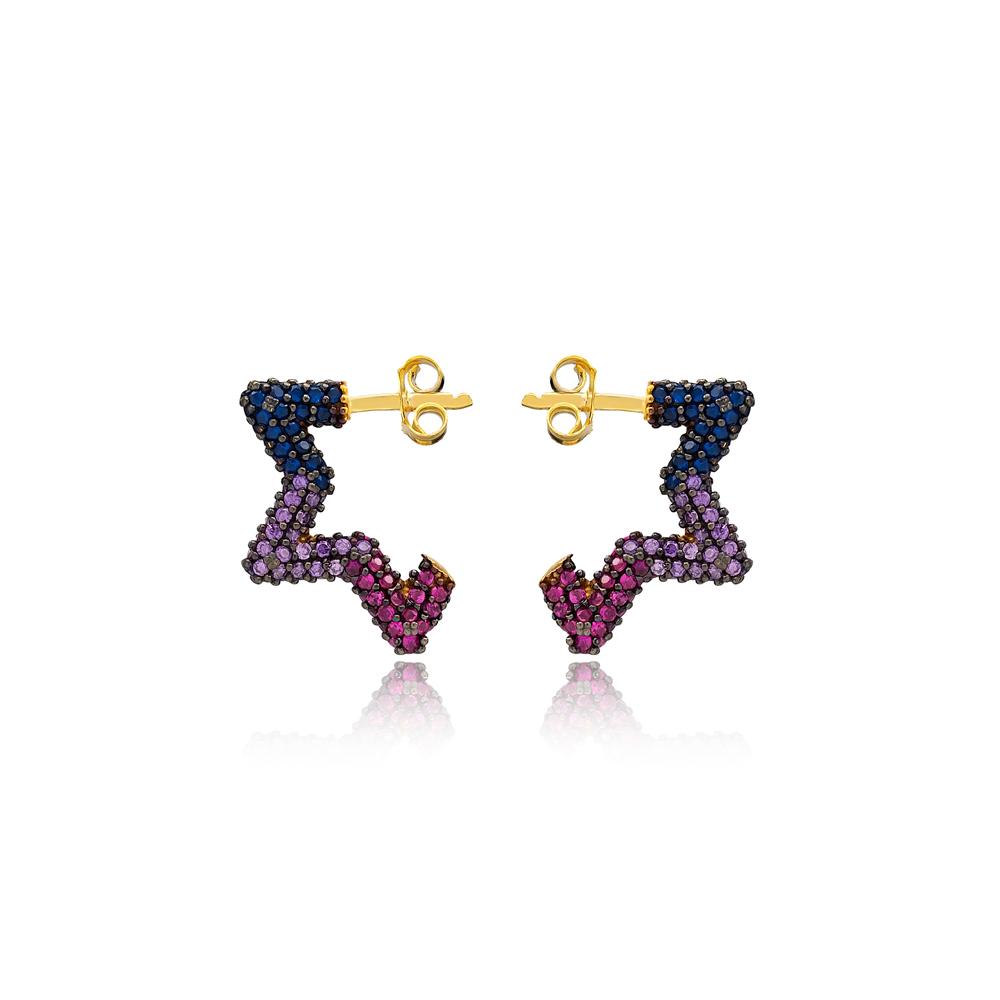 Trendy Rainbow Star Shape Earrings Wholesale Turkish Handmade 925 Sterling Silver Jewelry
