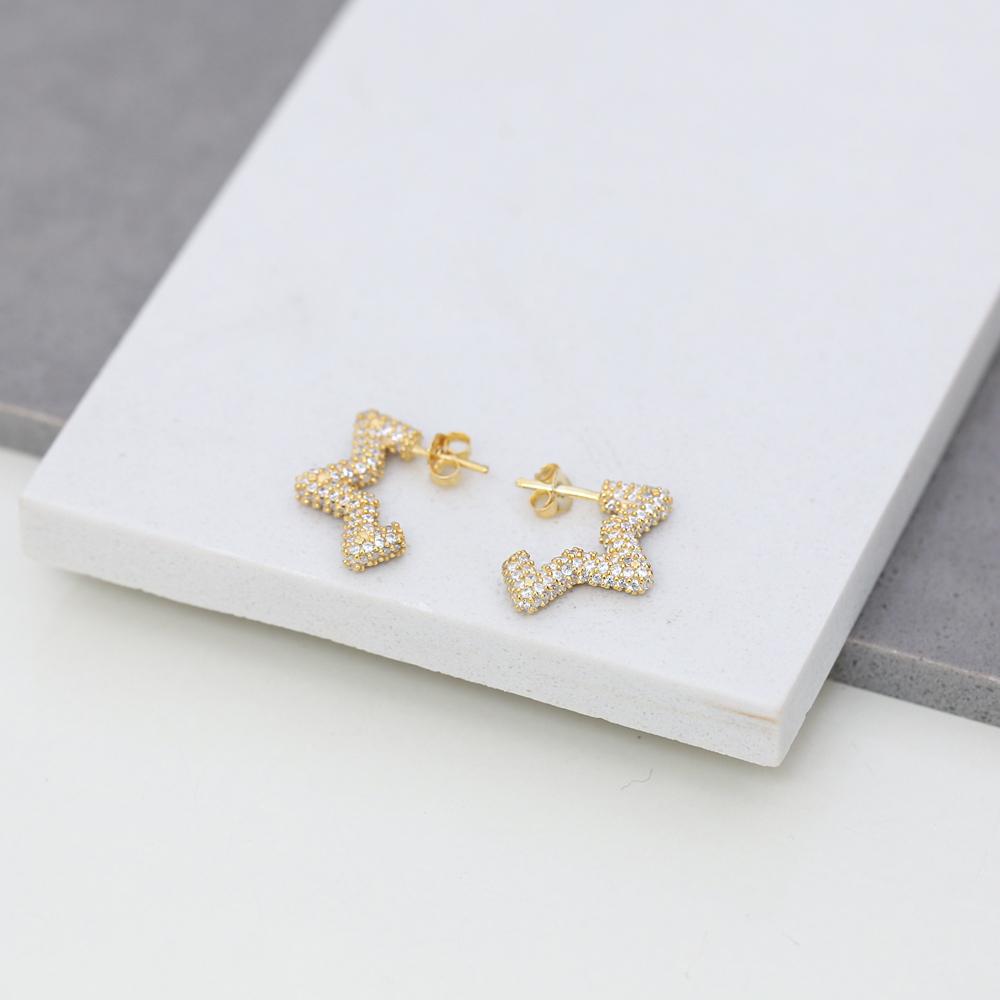 Trendy Zircon Star Shape Earrings Wholesale Turkish Handmade 925 Sterling Silver Jewelry