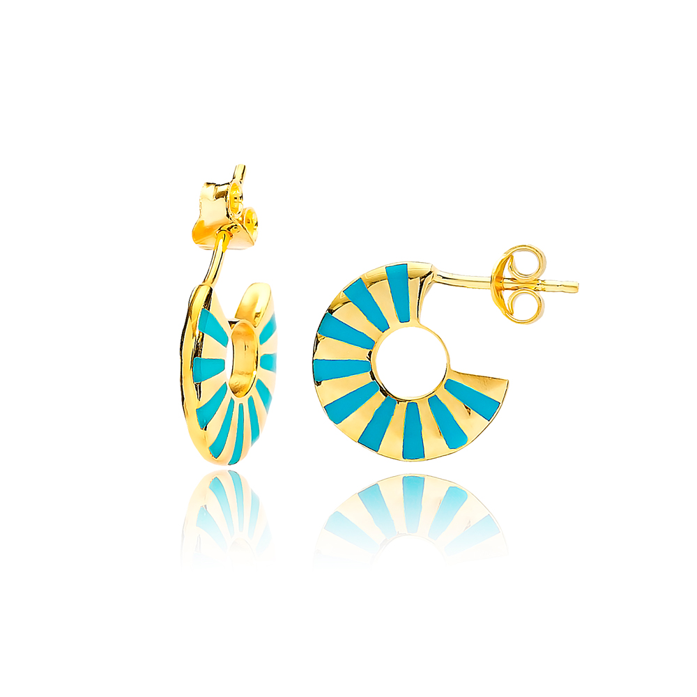 Banded Turquoise Enamel Design Earrings Turkish Wholesale Handcrafted 925 Sterling Silver Jewelry