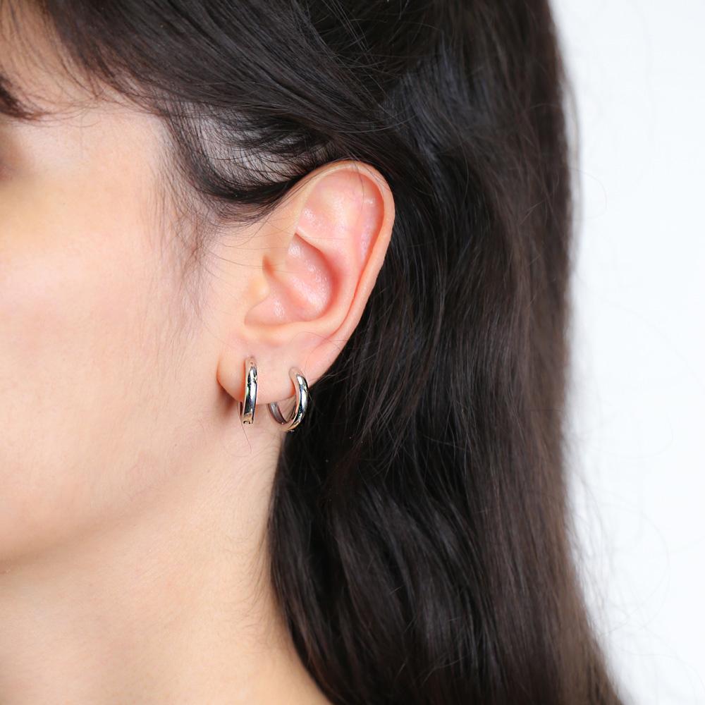 Plain Hoop Earrings Wholesale Turkish Handmade 925 Sterling Silver Jewelry