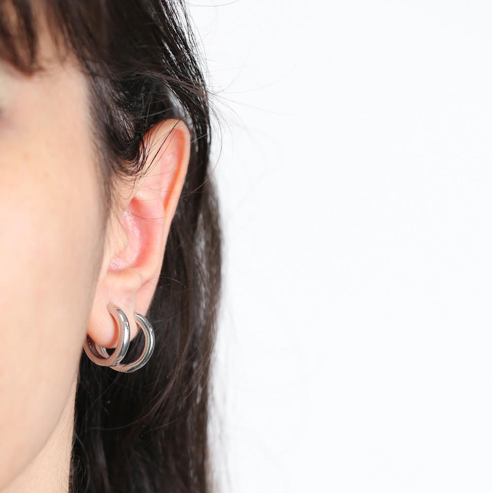 Simple Plain Design Mini Ø17 mm Hoop  Earrings Wholesale Turkish Handmade 925 Sterling Silver Jewelry