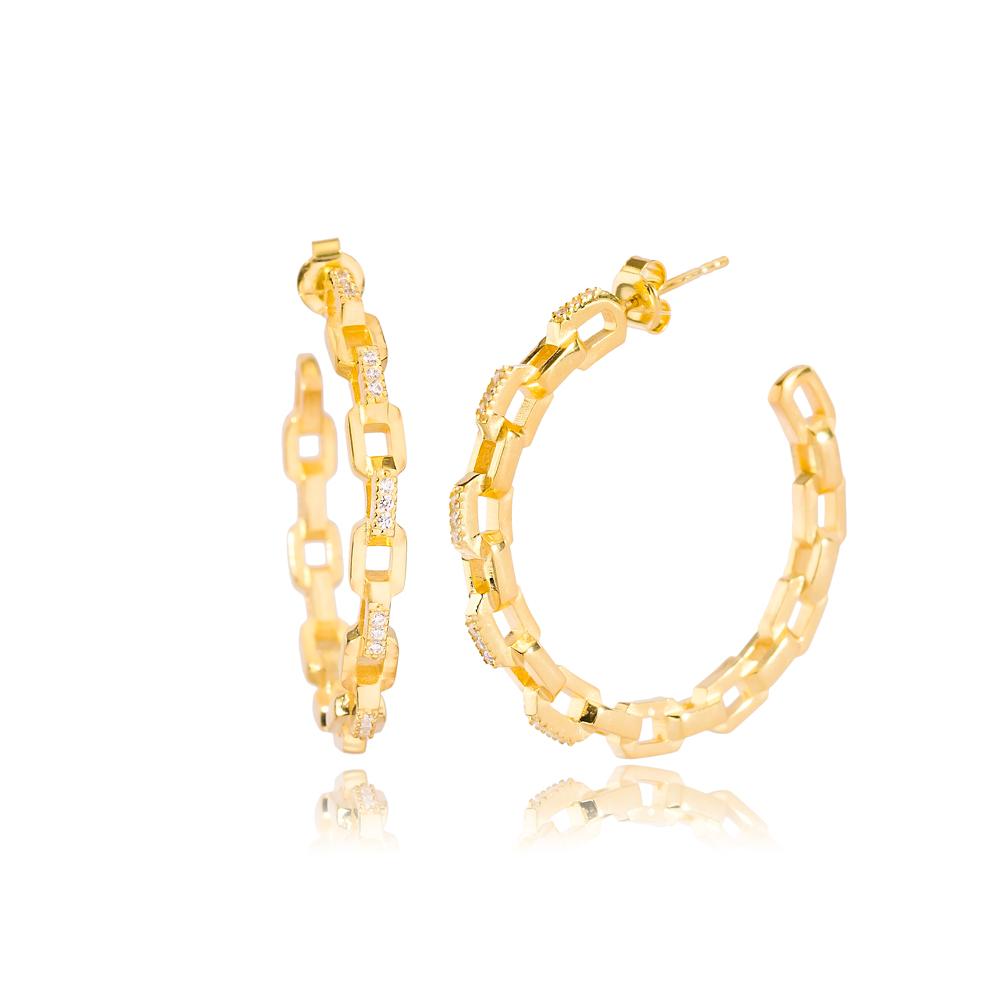 Chain Pattern Hoop Earring Wholesale Handmade 925 Sterling Silver Jewelry