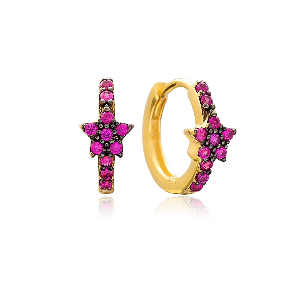 Ruby Stone Star Hoop Earrings Turkish Wholesale Handmade 925 Sterling Silver Jewelry