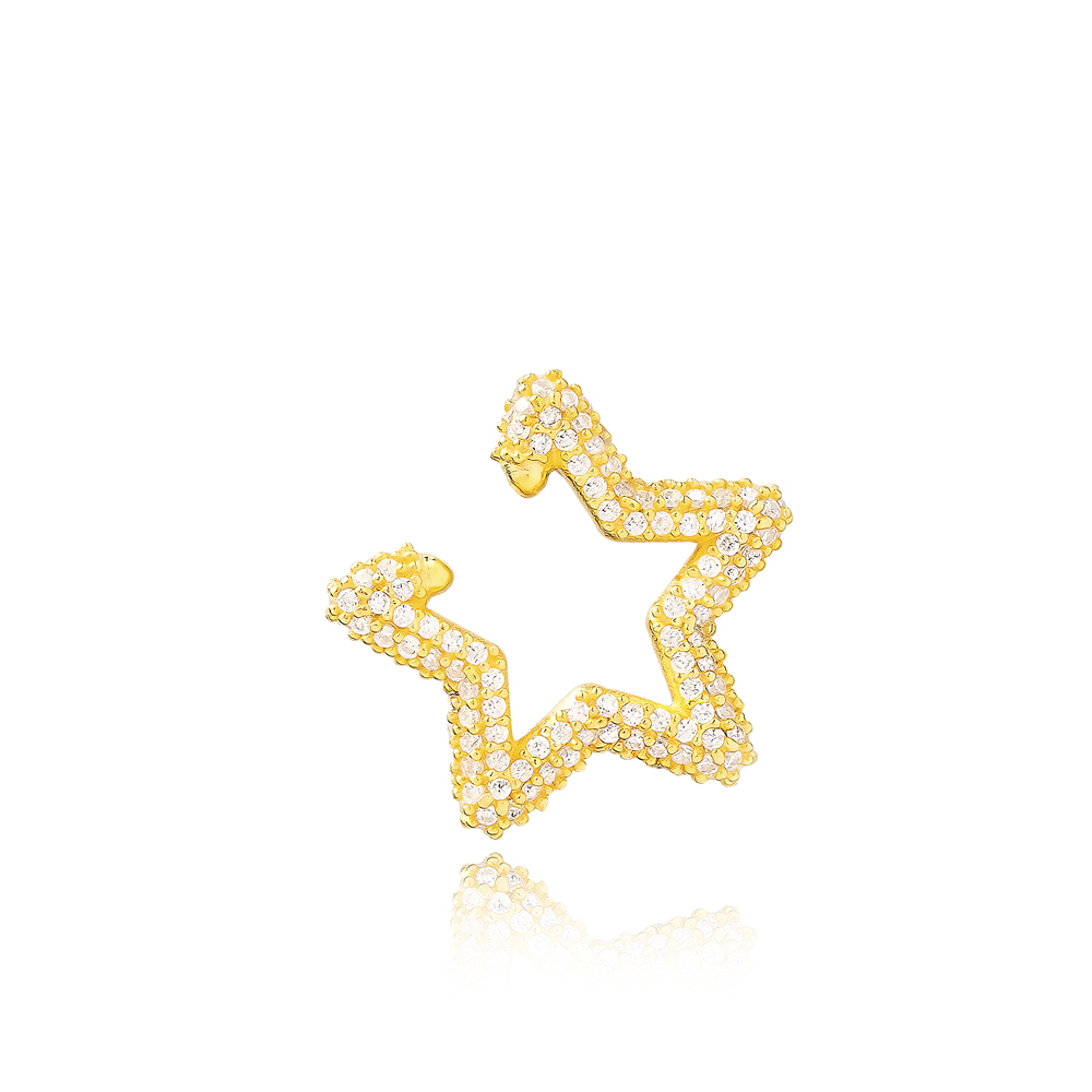 Star Cartilage Earrings Wholesale Turkish Handmade 925 Sterling Silver Jewelry